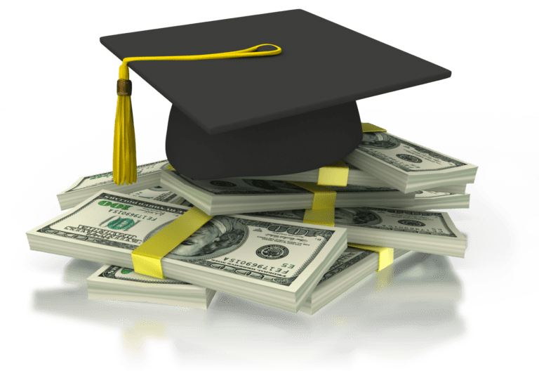 Graduation cap on top of cash.